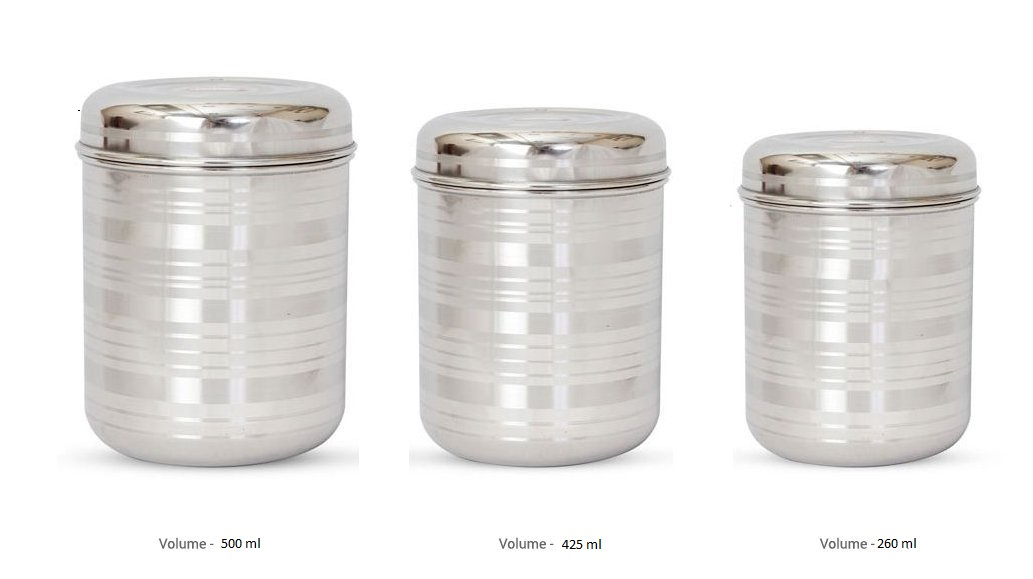 designer stainless steel storage containers , set of 3 , silver