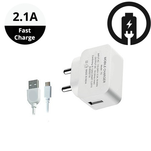2.1A Fast Wall Charger for All Mobiles, Tablets Other Devices Micro USB Cable  White