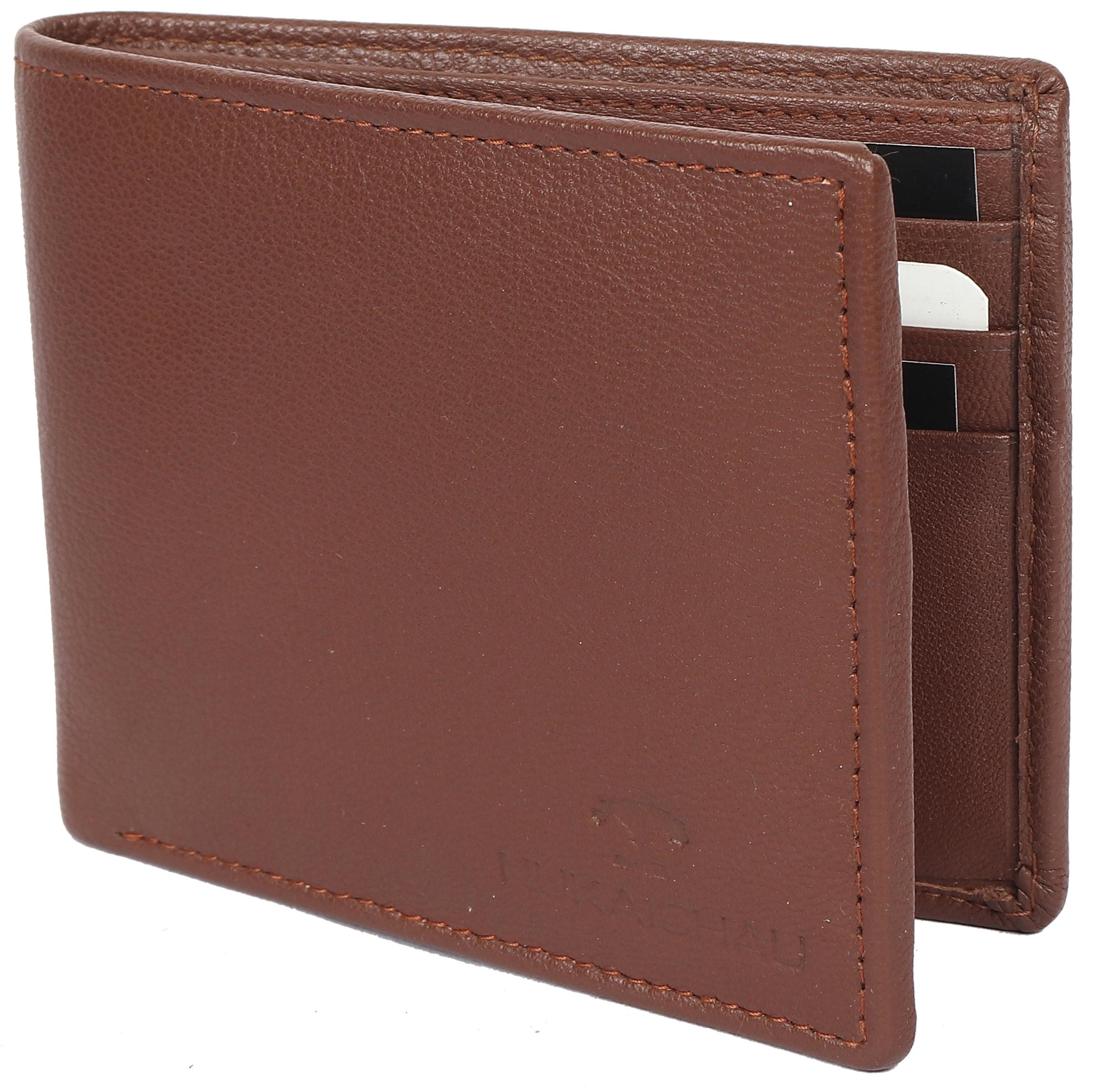 NUKAICHAU Genuine Original Pure Leather Brown Colour Men's Money Wallet with Zip, Coin Pocket, Two Cash Compartment