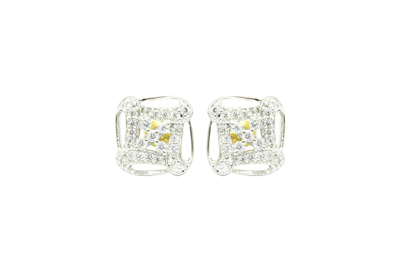 Women's Ear tops studs Earring white Gold Plated white Zircon Stone designer