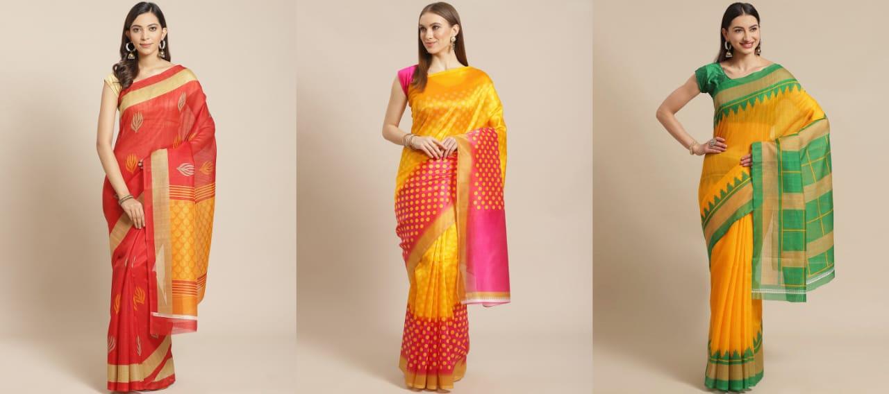 Sharda Creation Multicoloured Printed Saree Pack of 3 Saree