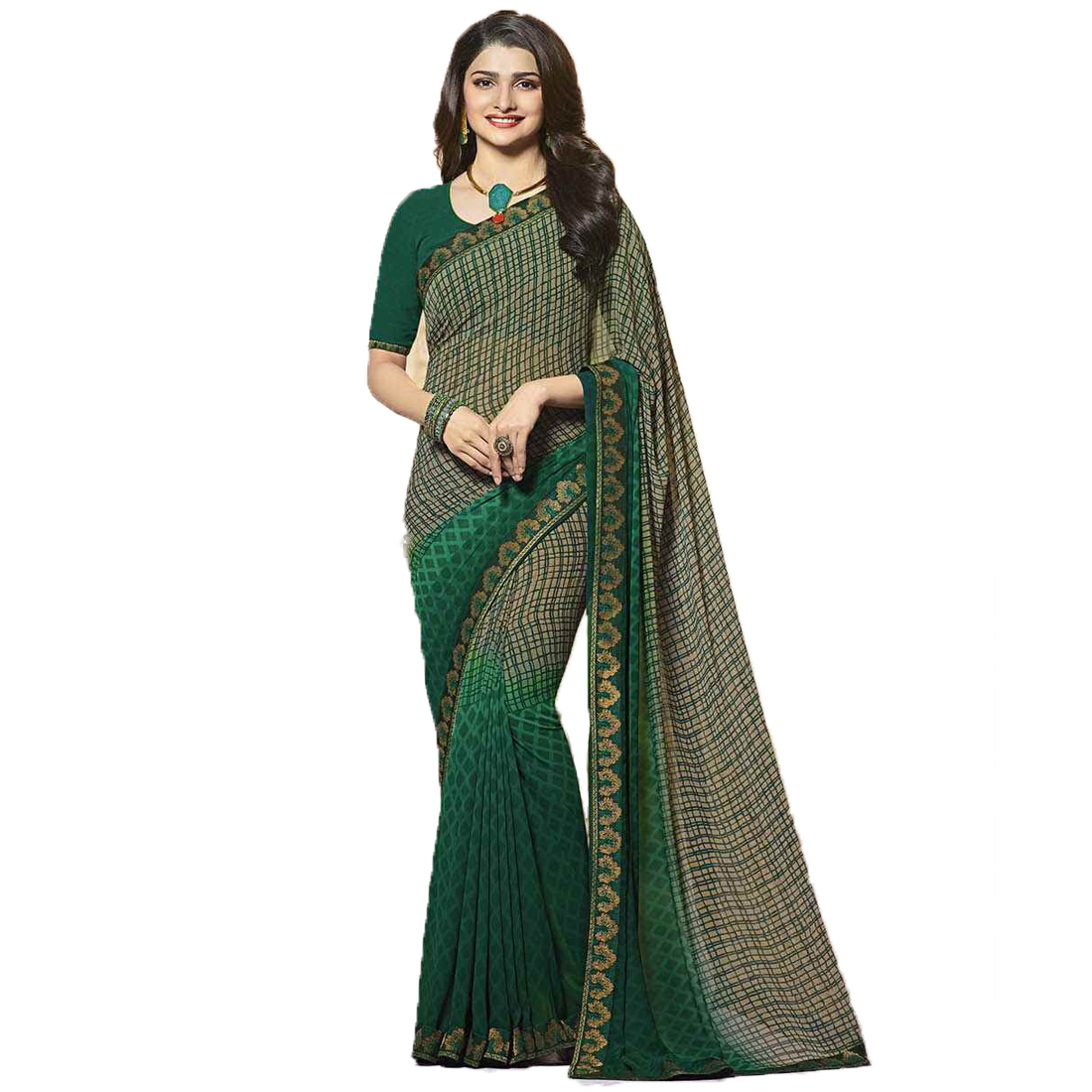 Indian Style Sarees New Arrivals Latest Women's Green Georgette Printed Saree With Blouse Bollywood Latest Designer