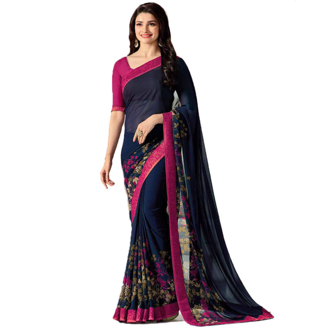 Indian Style Sarees New Arrivals Latest Women's Blue Pink Georgette Printed Saree With Blouse Bollywood Latest Designer
