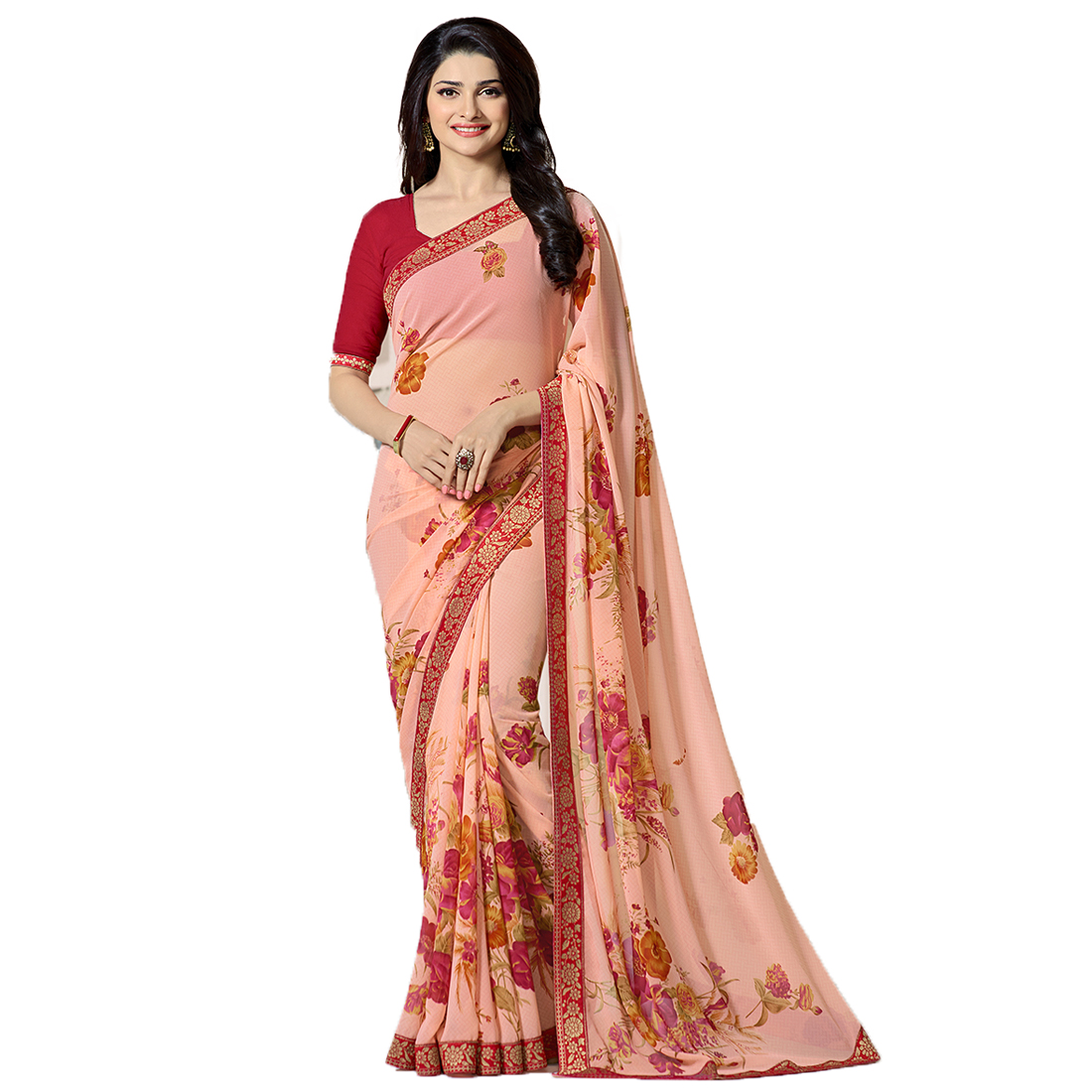 Indian Style Sarees New Arrivals Latest Women's Peach Georgette Printed Saree With Blouse Bollywood Latest Designer
