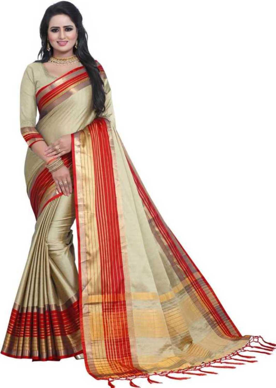 Bhuwal Fashion Solid Cotton Silk Saree  bf5218