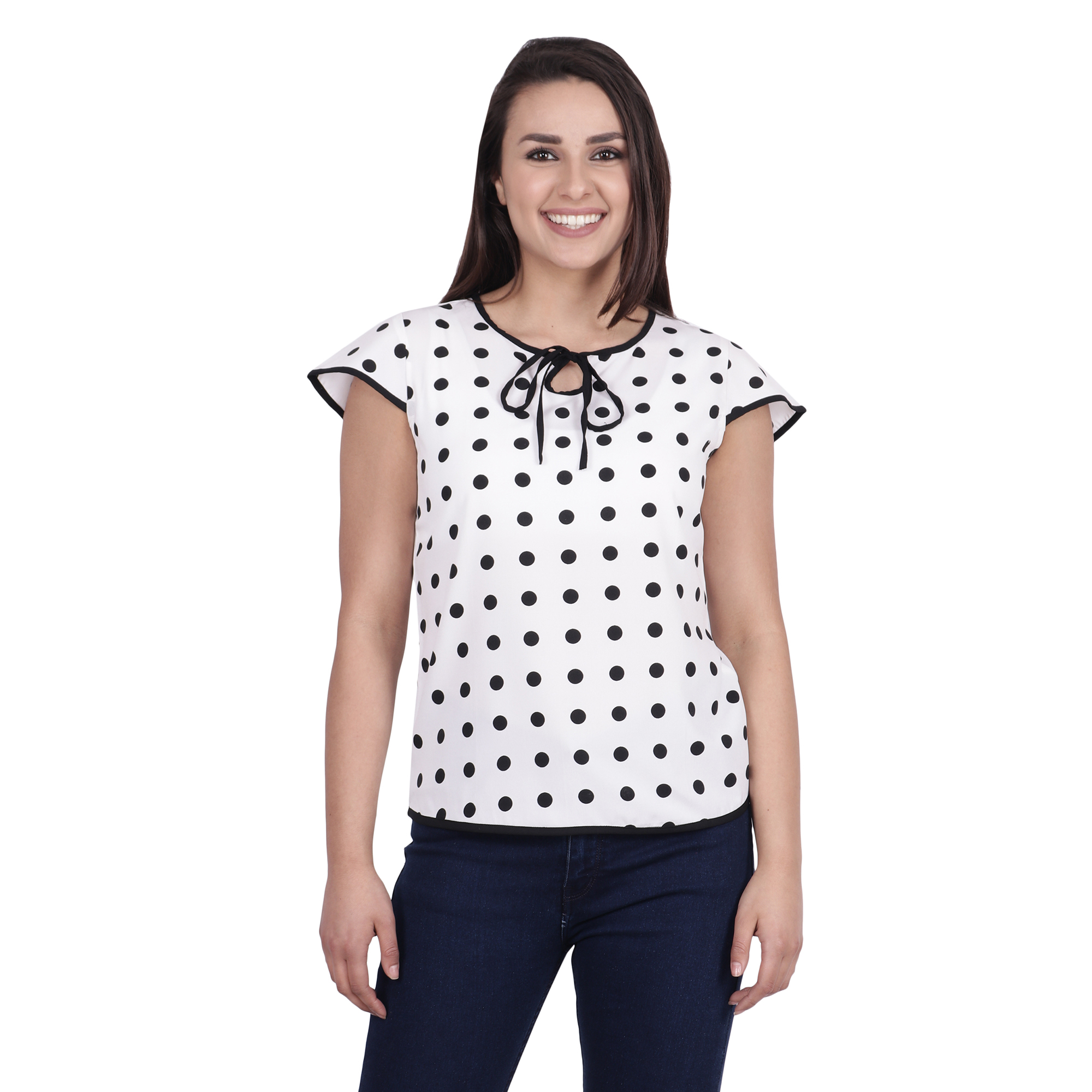 POPWINGS Short Sleeve Keyhole Neck Poly Moss Fabric Polka Dot Printed Casual Women top White