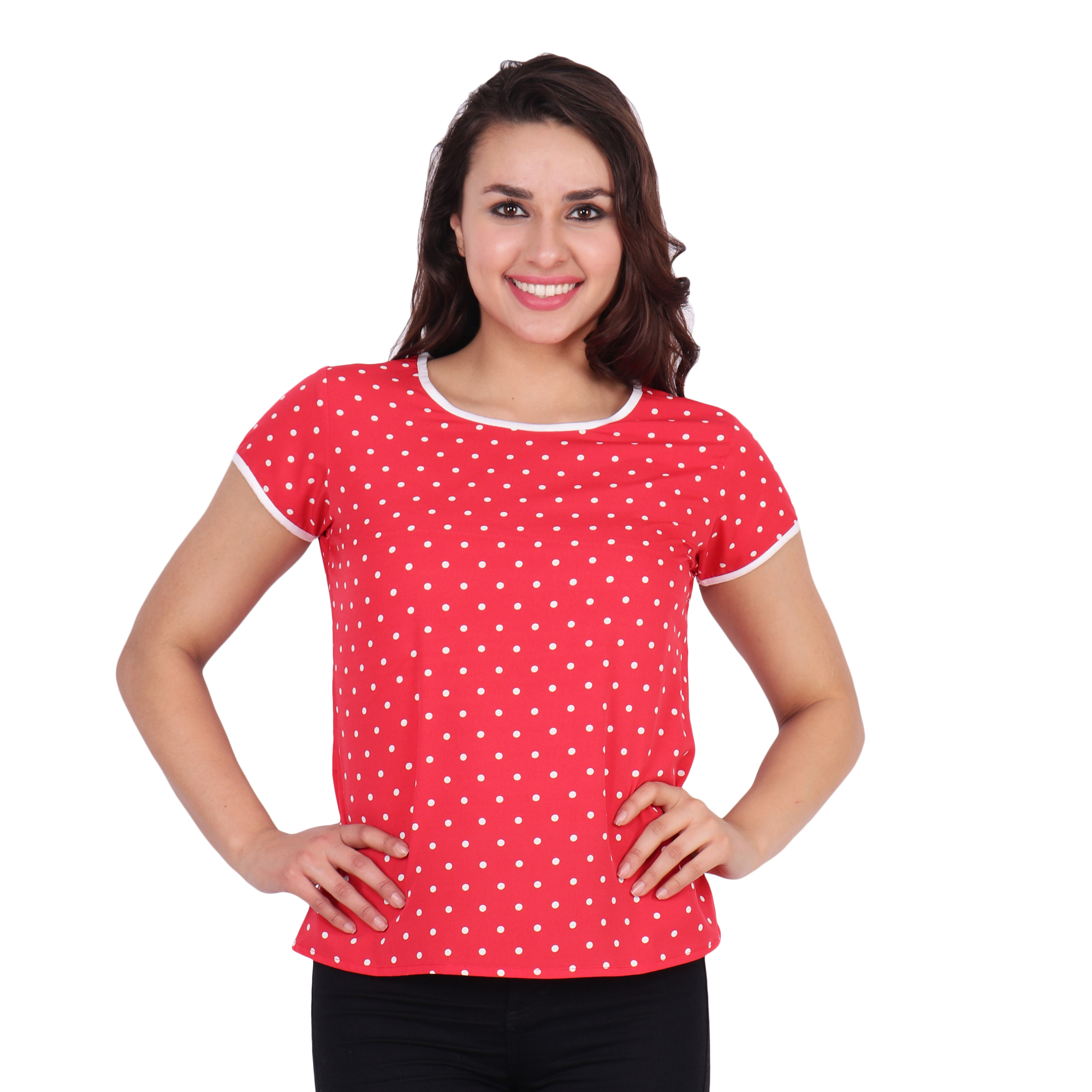 POPWINGS Short Sleeve Round Neck Poly Moss Fabric Polka Dot Printed Casual Women top Red