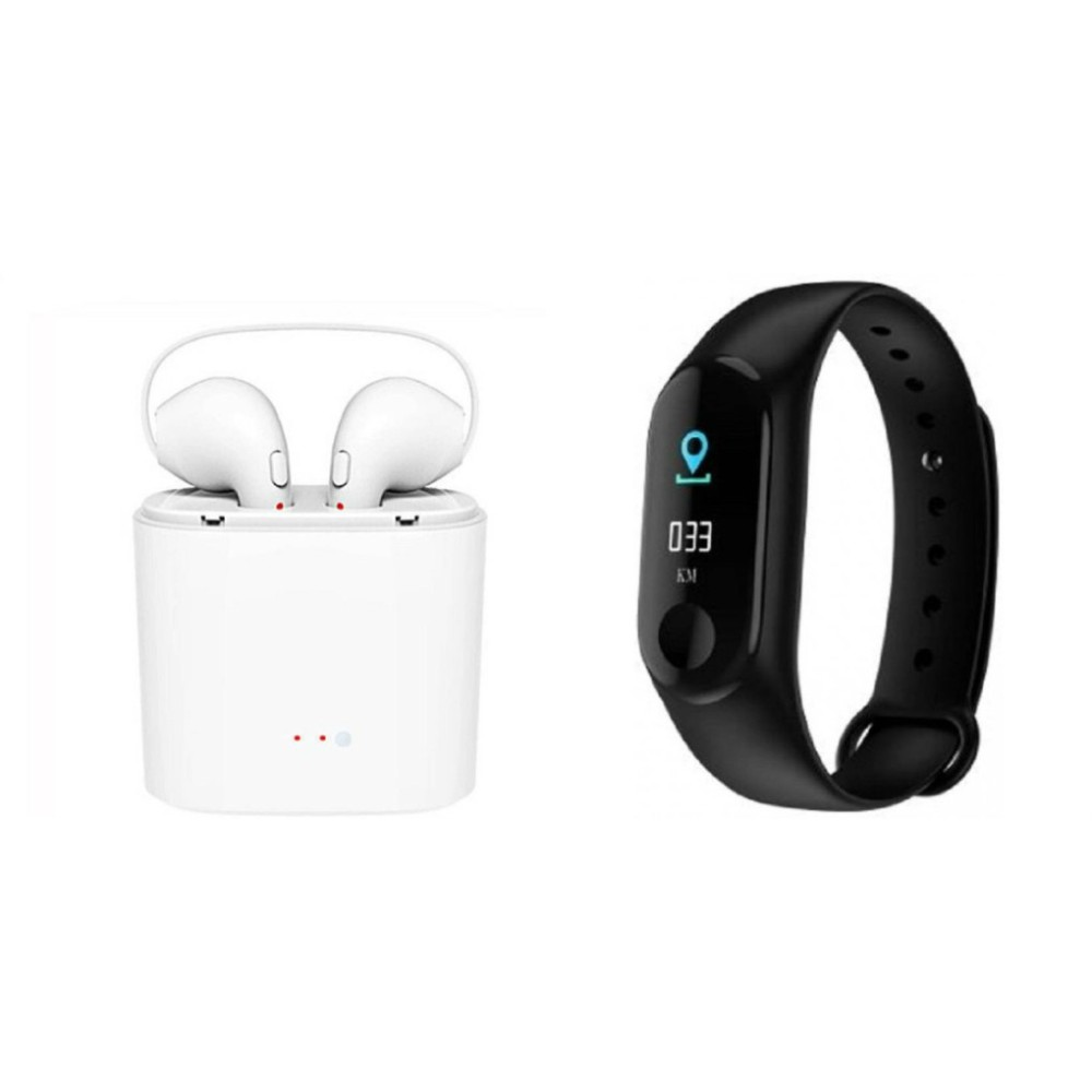 I7 Twins bluetooth Headset and M3 smart band||Wireless || Wireless Headphone || Bluetooth Stereo Headphone ||Travelling Headphones
