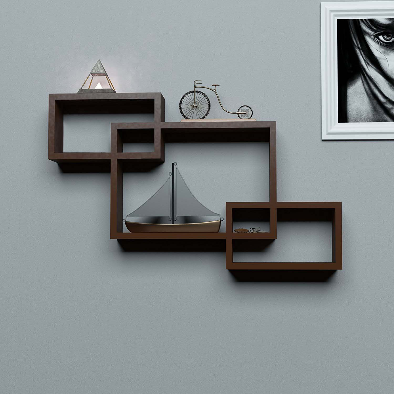 sunshinewood wooden wall shelf rack   brown intercsting wall shelf rack set   3