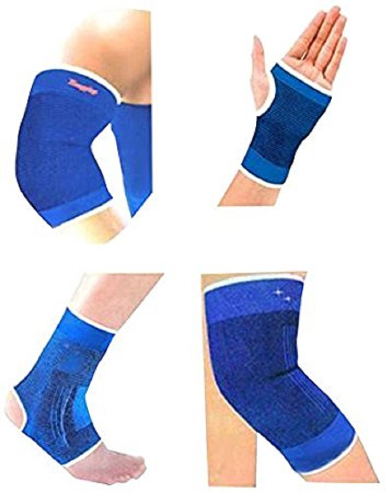 Fitness Combo Ankle/ Knee / Elbow / Palm Support Pairs for GYM Exercise Grip   Blue