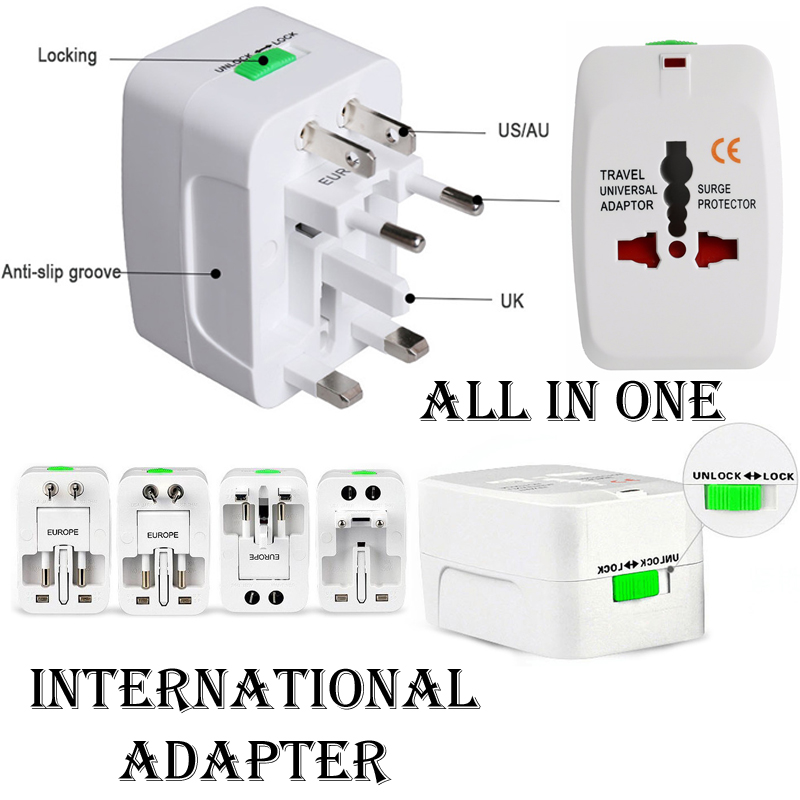 All in One Plug / Universal Plug / International Plug Adapter / Travel Plug Adapter Port AC Power Charger Adaptor with AU US UK EU Converter Plug