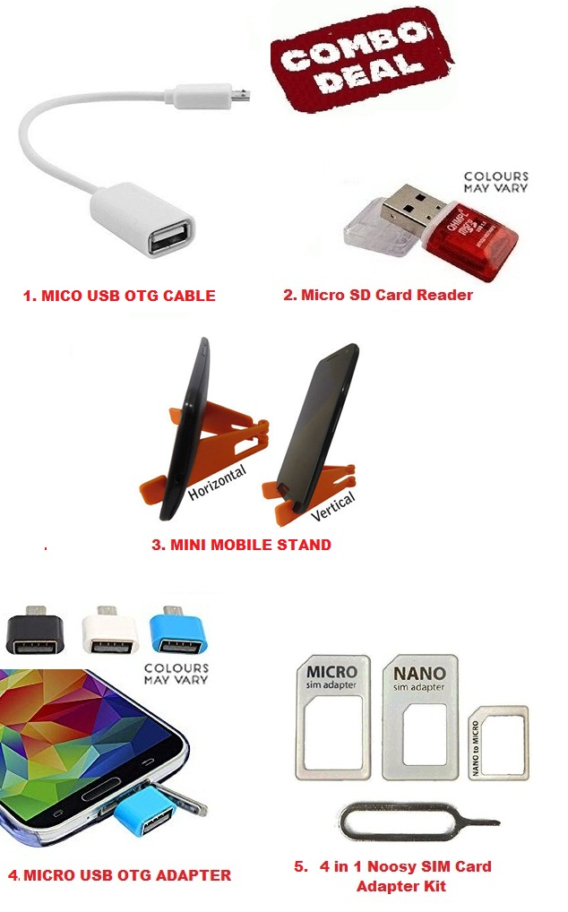 PACK OF 5   MICRO OTG CABLE , MICRO SD CARD READER,POCKET MOBILE STAND, MICRO USB OTG ADAPTER,NANO SIM ADAPTER