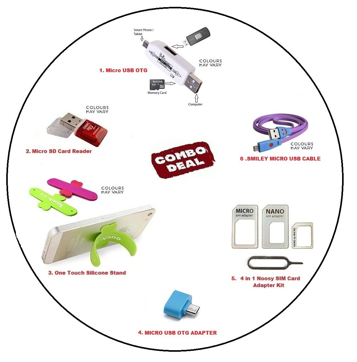PACK OF 6   CARD READER + MICRO SD CARD READER+ONE TOUCH SILICONE STAND + OTG ADAPTER + NANO SIM ADAPTER + SMILEY CABLE