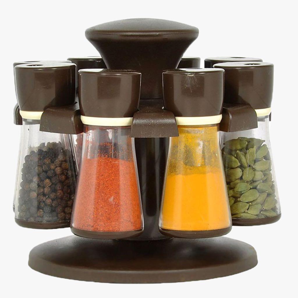 SP 8 Jars Revolving Spice Rack / Masala Rack, Black Abs Plastic Box