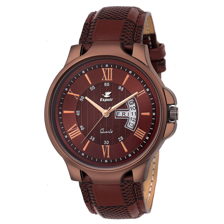 Espoir Brown Round Dial Leather Strap Analog Quartz Watch For Men