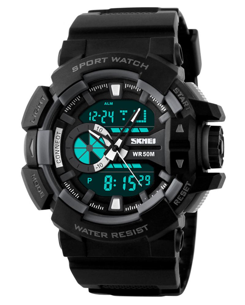 Skmei Black WR 50M Analog With Digital latest Sport Watch For Men