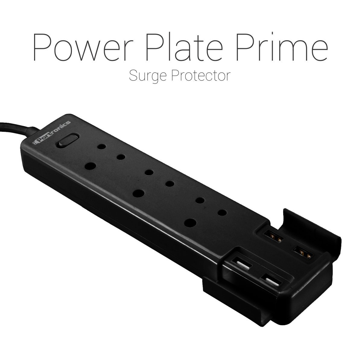 Portronics POR 670 Black  Power Plate Prime Three 5A electrical universal sockets and 4 USB ports Surge Protector