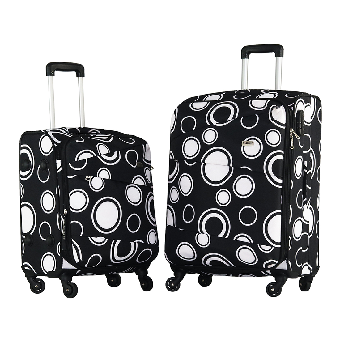 Timus Indigo Spinner Black 4 Wheel Strolley Suitcase For Travel Set of 2 Expandable Cabin and Check in Luggage   24 inch  Black