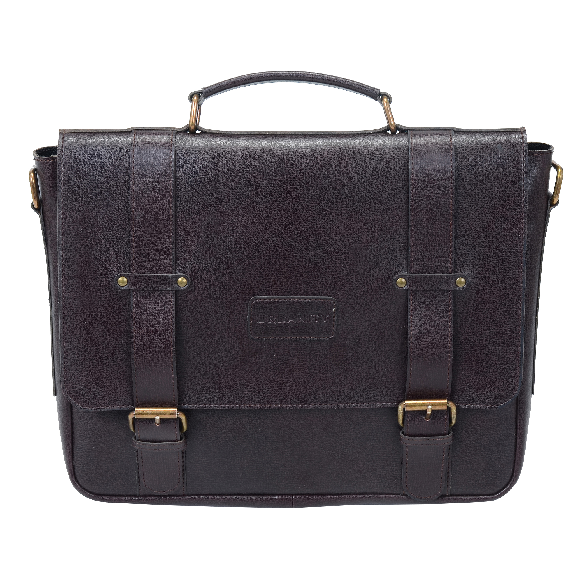 URBANITY Leather Men 15 Inch Laptop Messenger Bag  Brown