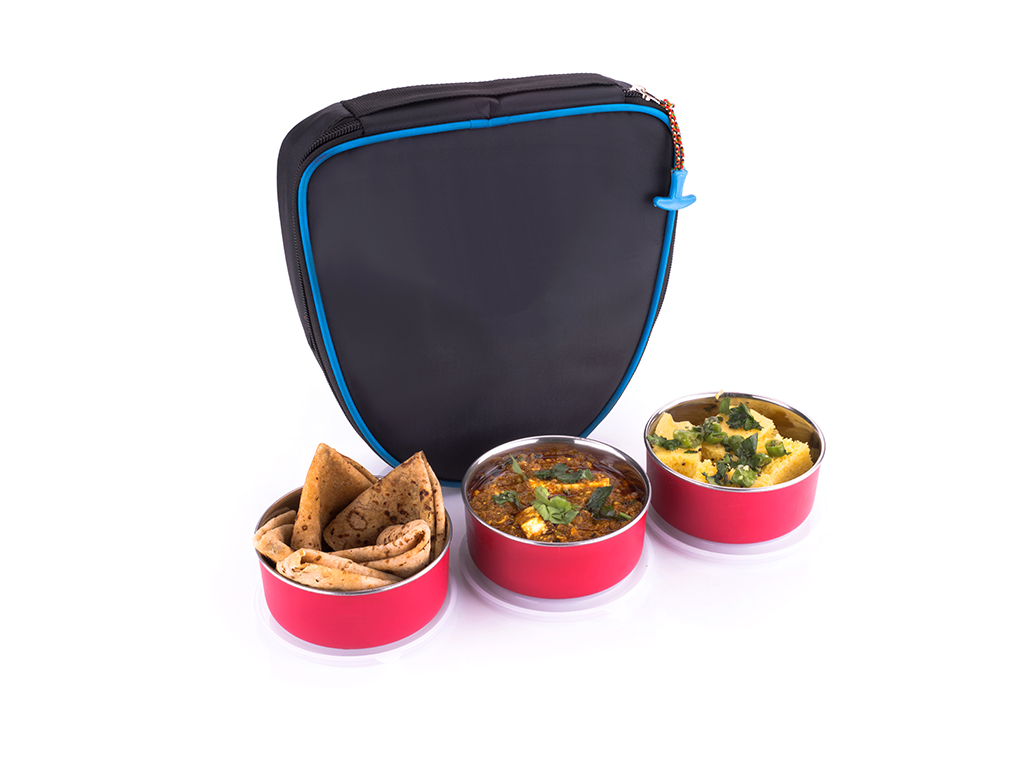 Avsar Multicolour Stainless Steel Lunch Box Set with 3 Containers