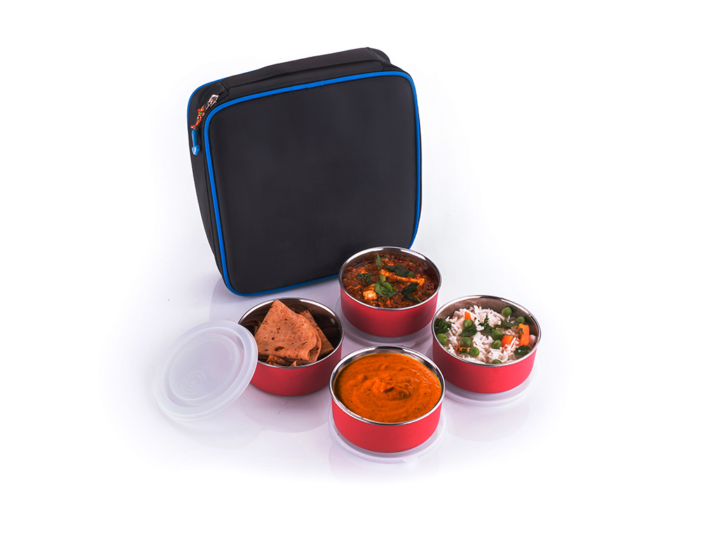 Avsar Multicolour Stainless Steel Lunch Box Set with 4 Containers