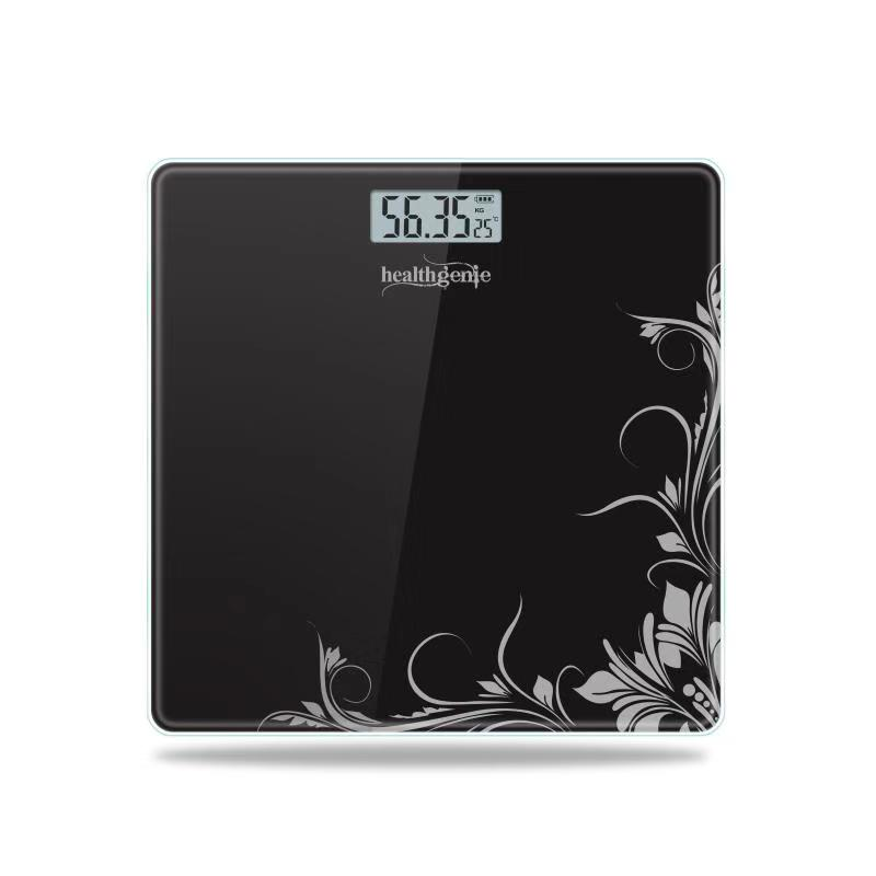 Healthgenie Electronic Digital Weighing Machine Bathroom Personal Weighing Scale, Max Weight 180 Kgs, Weighing Scale  Black Pattern