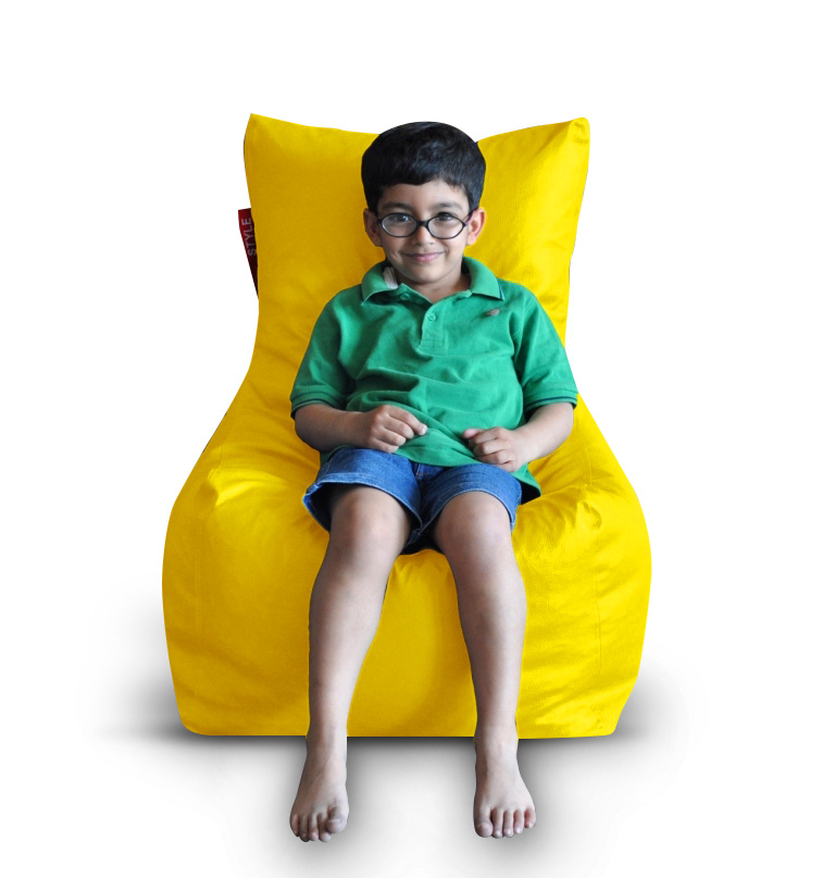 Style Homez Premium Leatherette XL Bean Bag Chair Yellow Color, Cover Only
