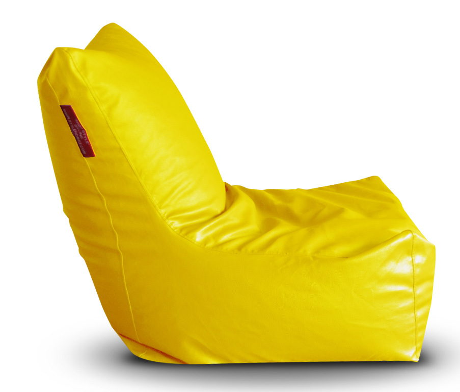 Style Homez Premium Leatherette XXL Bean Bag Chair Yellow Color, Cover Only