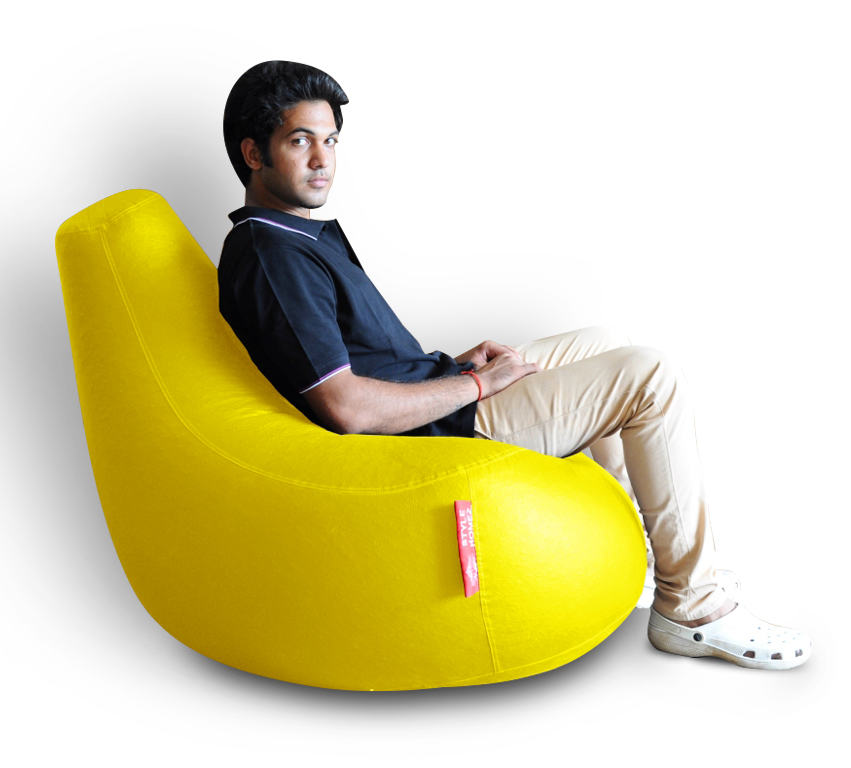 Style Homez Premium Leatherette XXL Bean Bag Gaming Chair Yellow Color, Cover Only