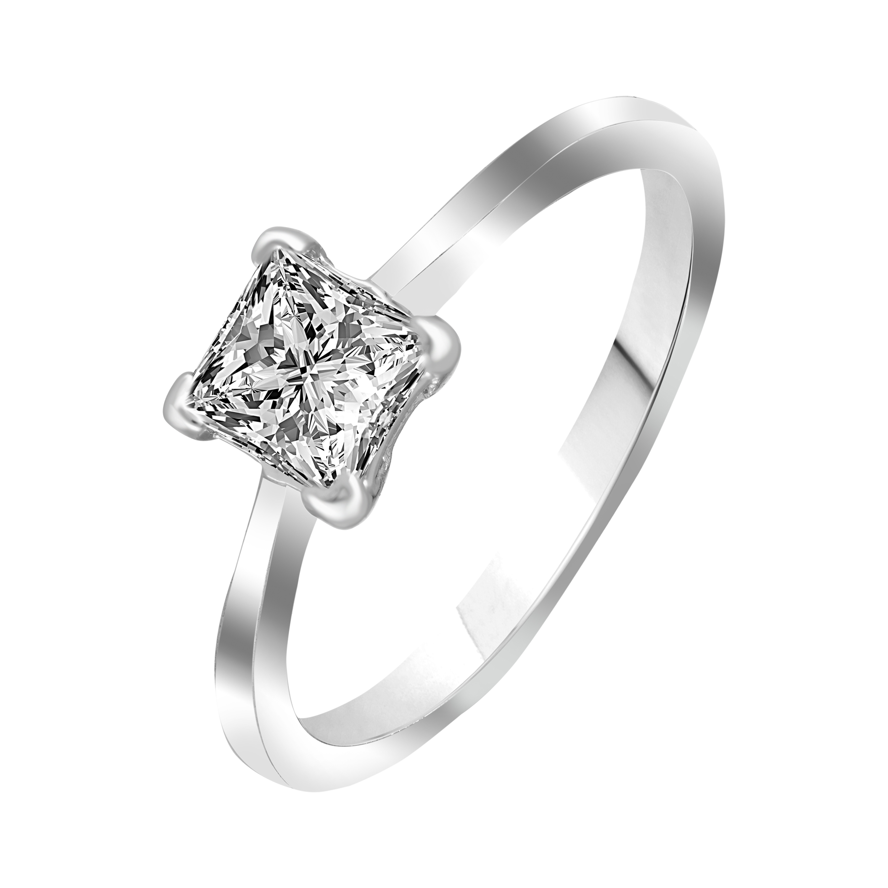 VK Jewels Square Solitaire Rhodium Plated Alloy CZ American Diamond Ring for Women [VKFR2812R8]