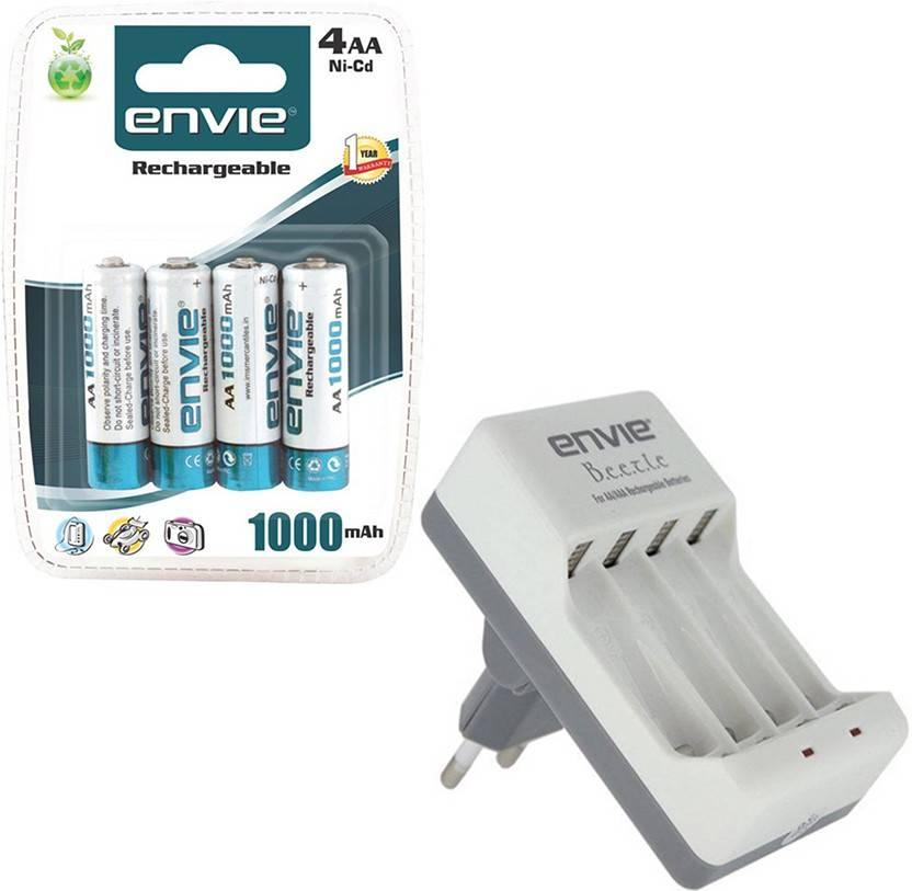 ENVIE 4XAA 1000mAh Ni CD AA Rechargeable Battery Cell + AA / AAA Charger