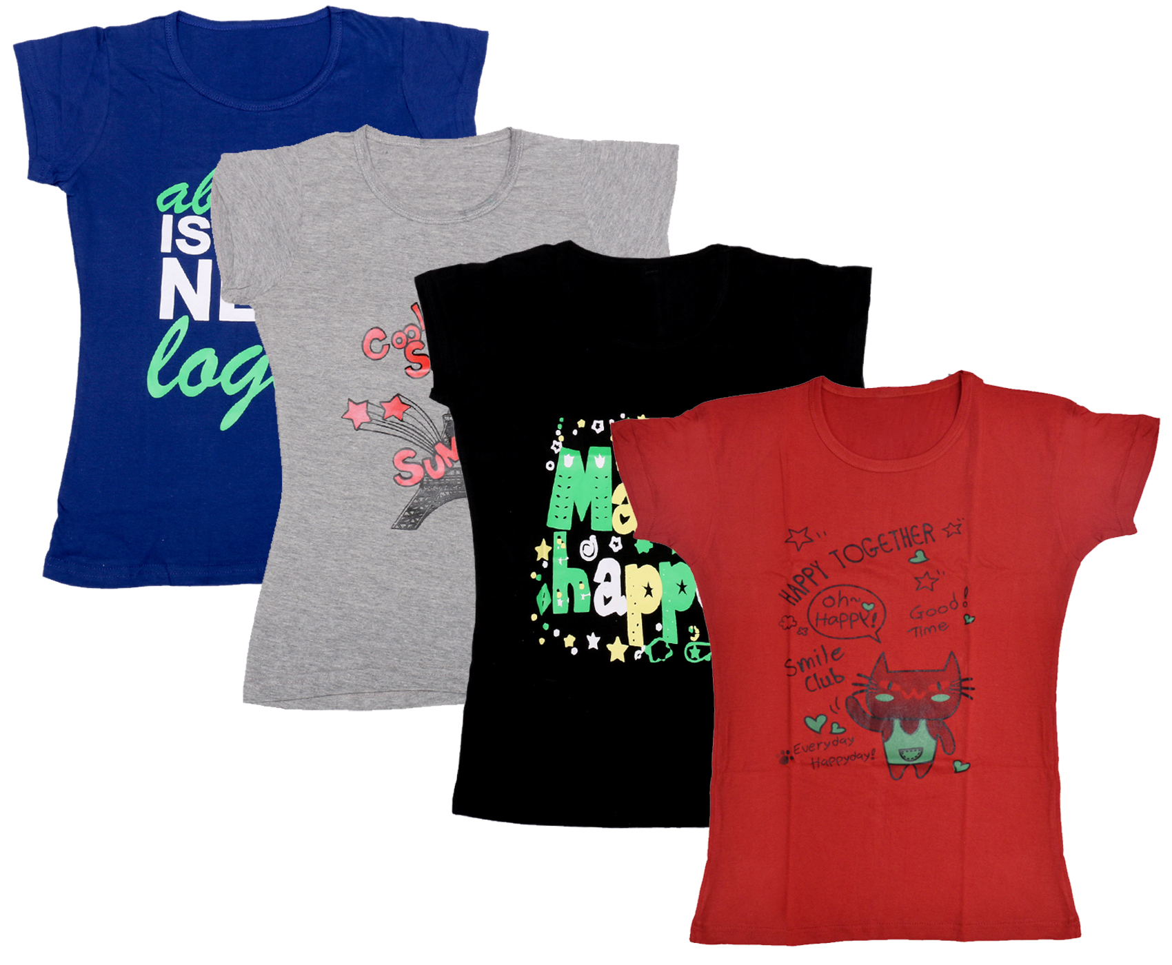 IndiWeaves Girls Cotton Half Sleeves Printed T Shirts Pack of 4