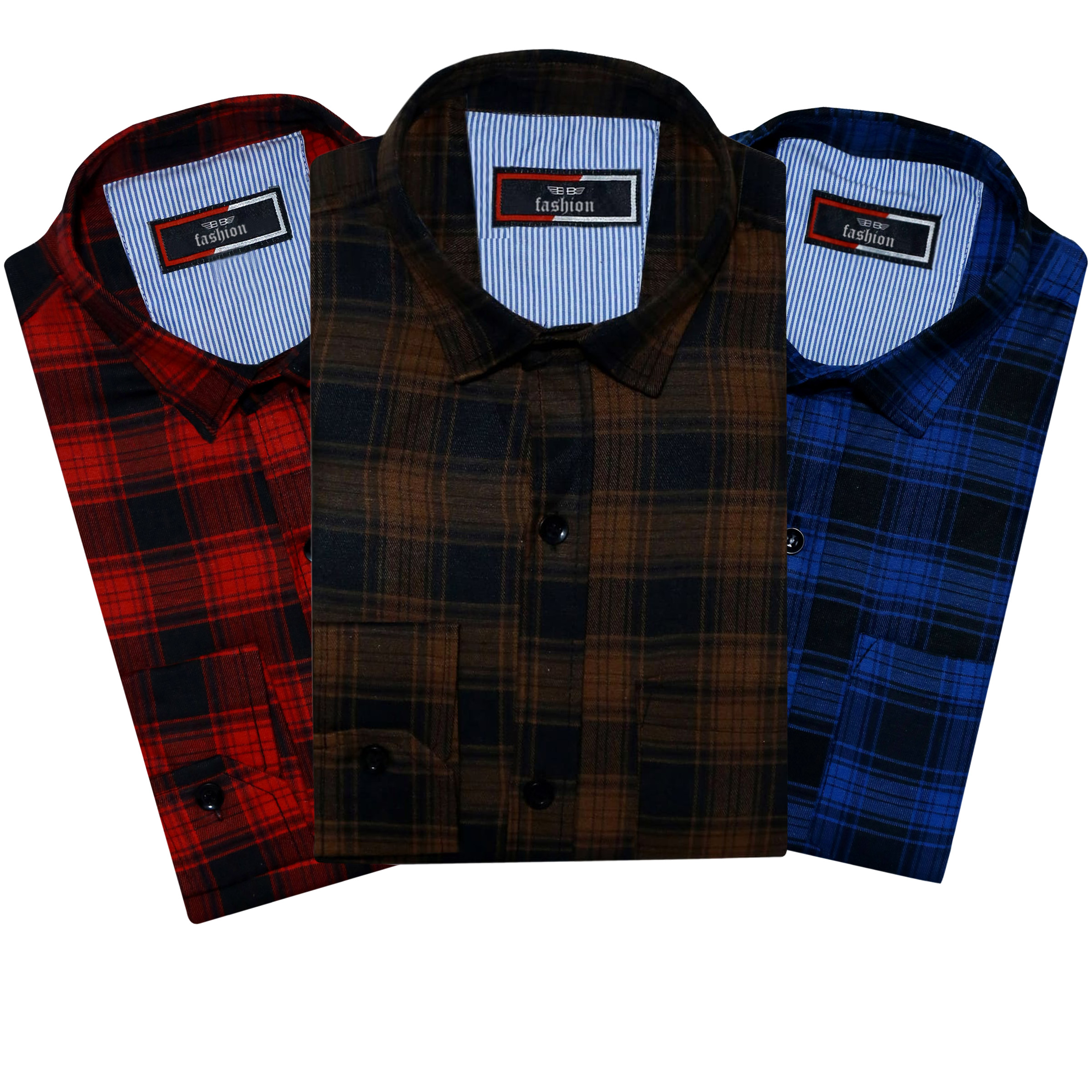 Spain Style Men Checkered Casual Slim Fit Multicolor Shirts   Pack of 3