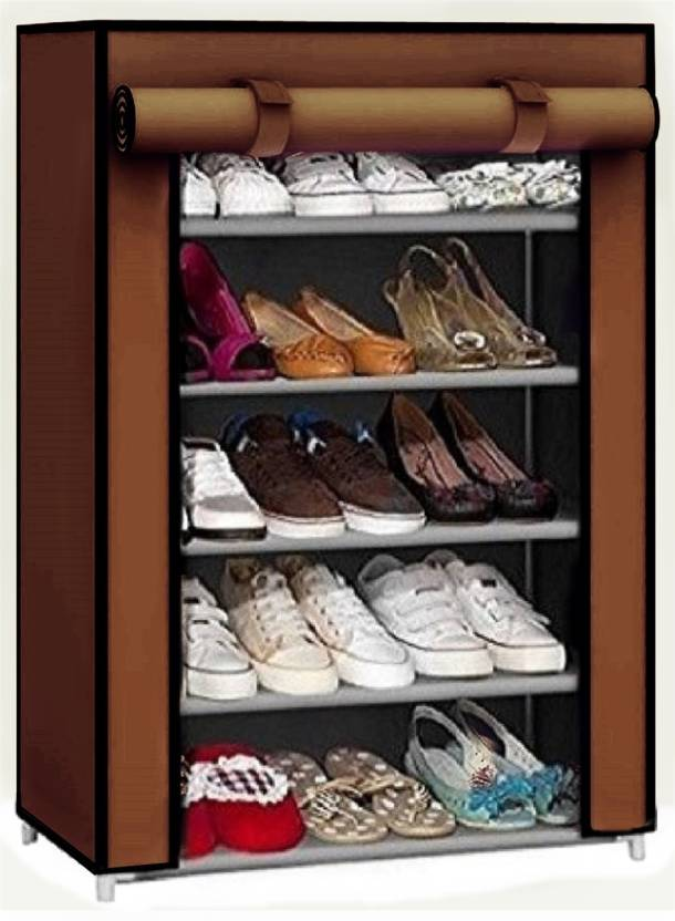 Caxon Fancy Modern 5 Layer Storage Metal Collapsible Shoe Stand  Brown, 5 Shelves