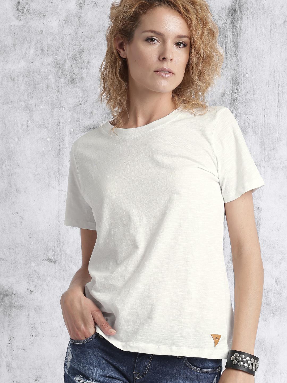 Zooks Women White Solid Round Neck T shirt