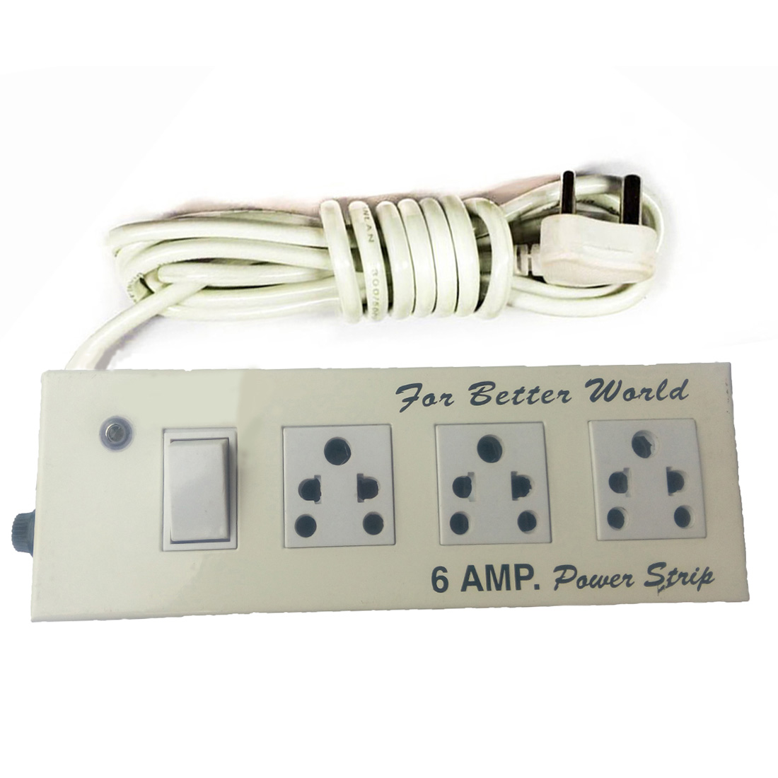 X EON Extension Board ,Solid Metal Body , Power Strip , 6 AMP, 3 Socket Surge Protector  White