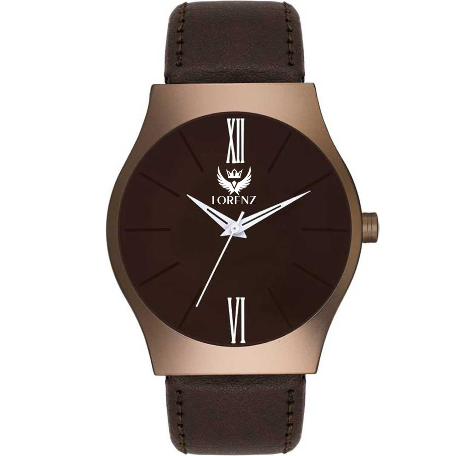 Lorenz Round Brown Dial Leather Strap Analog Watch For Men