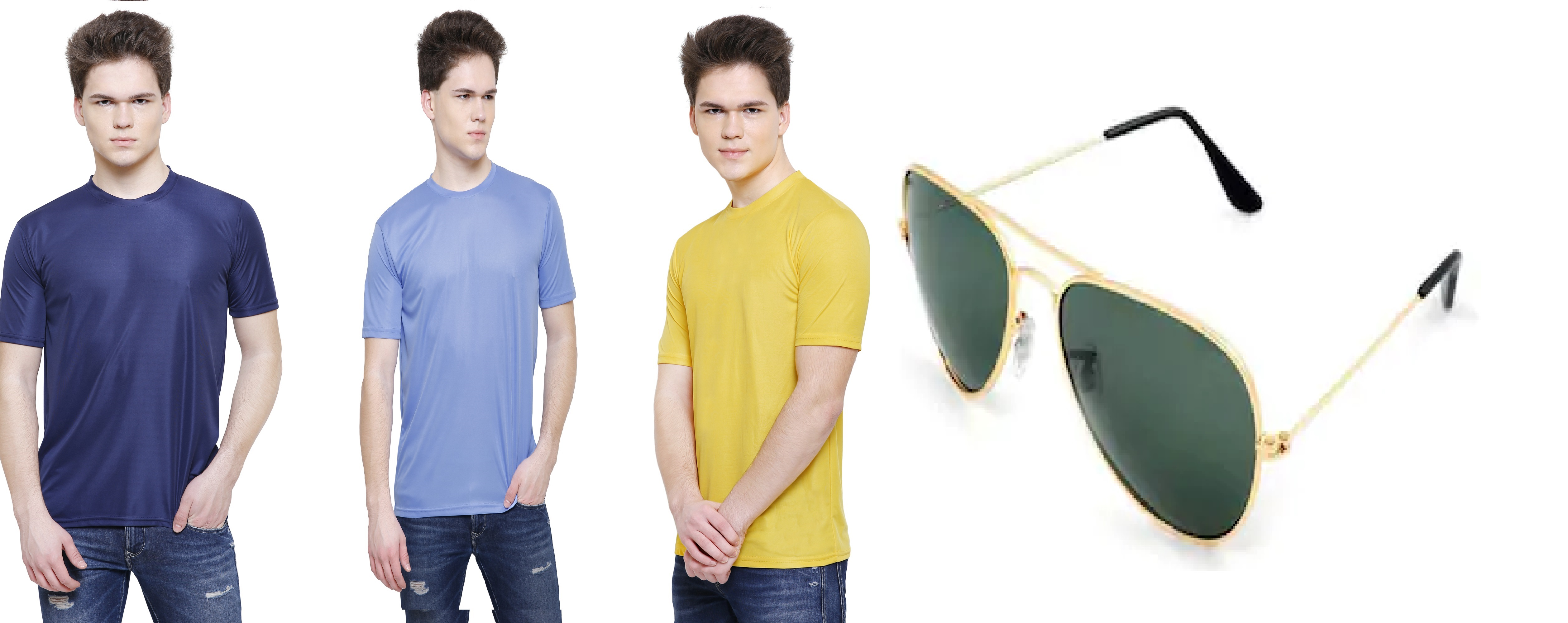 Solid Men's Round Neck SKY BLUE,Dark Blue,YELLOW T Shirt  Pack of 3  Free Shades
