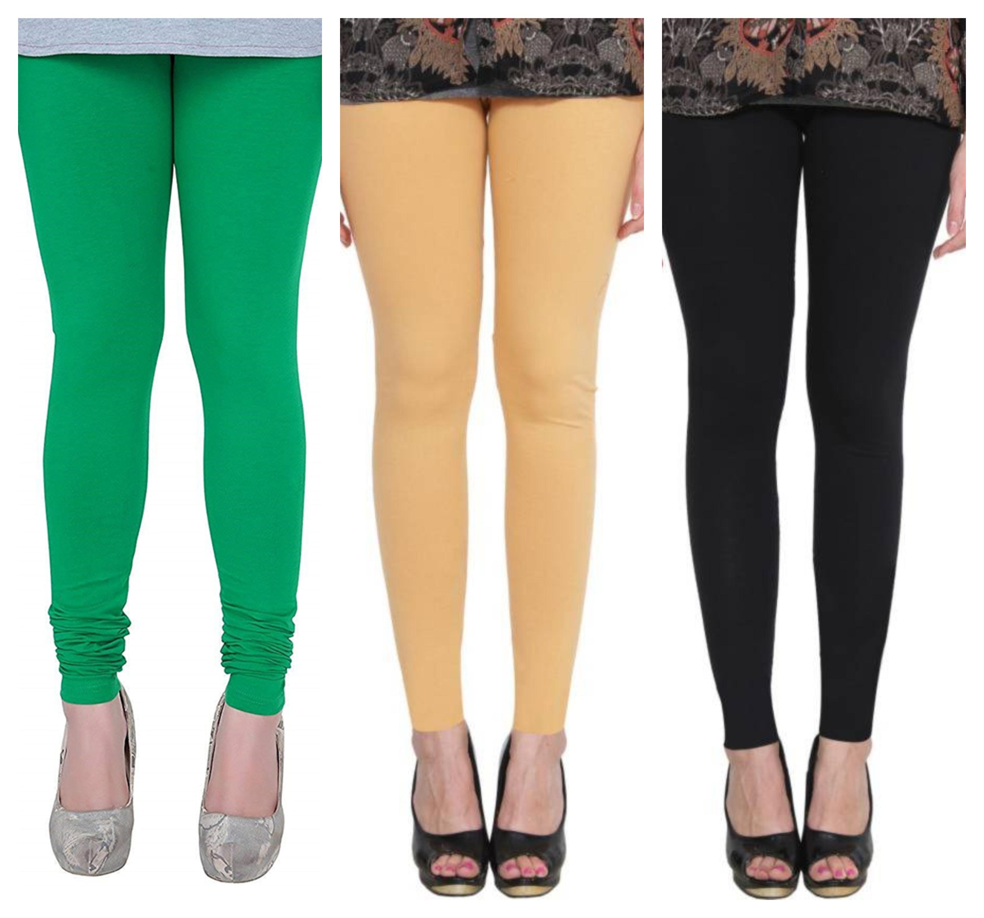 Esperato Combo Cotton Leggings For Women Black, Green, Beige