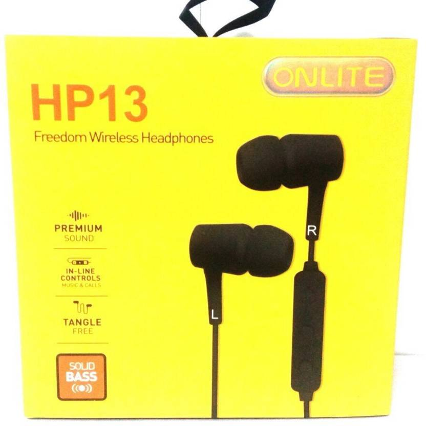 Onlite HP 13 Freedom Wireless Headphone With Extra Deep Bass   Black White