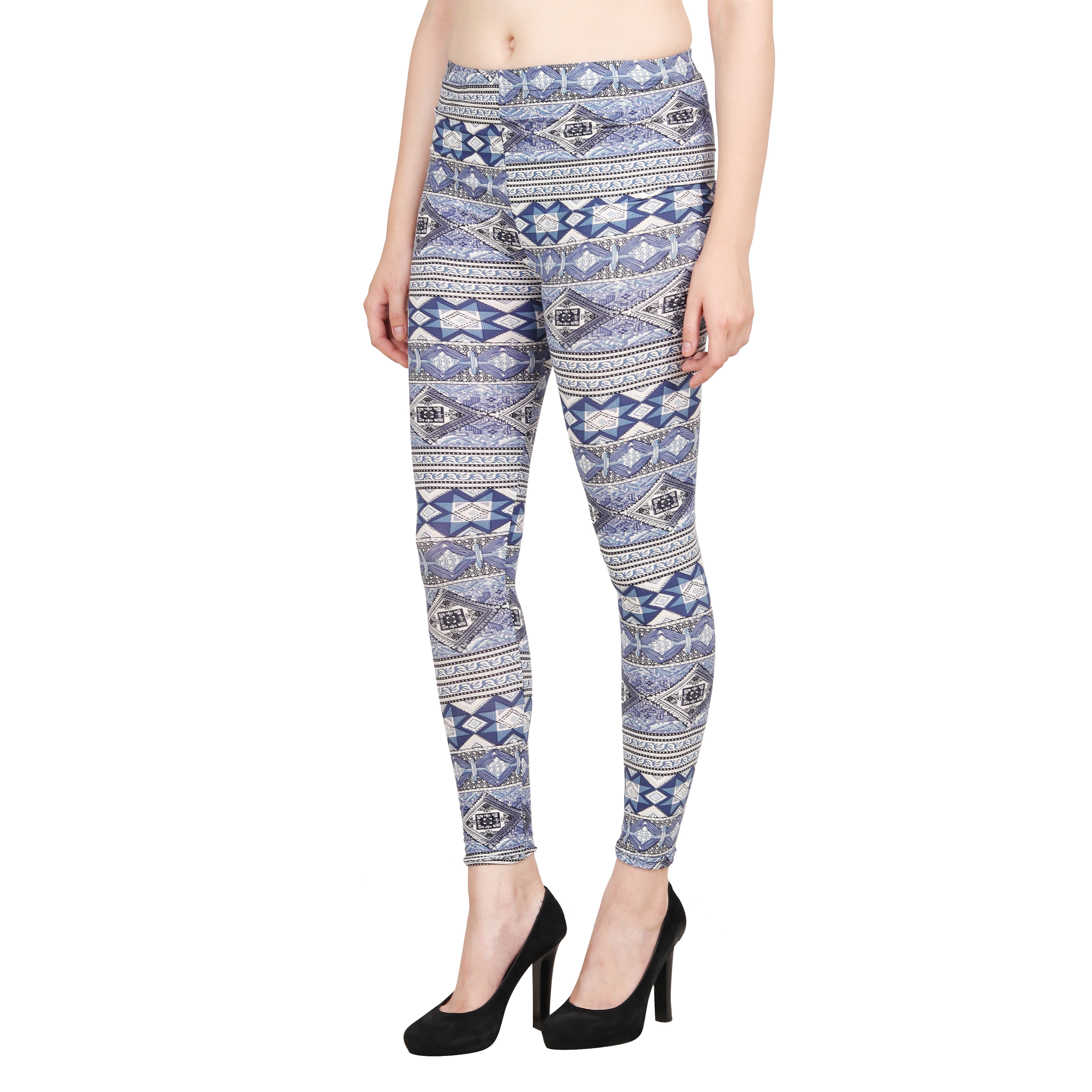 Aiyra Women's Blue Printed stretchable Jegging