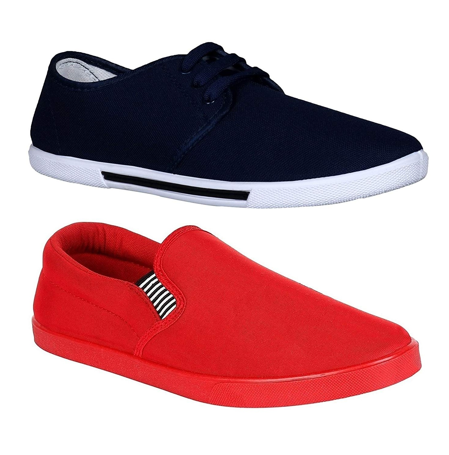 Chevit Pack of 2 Red Navy Casual Shoes  Loafers Shoes   CB 110+142