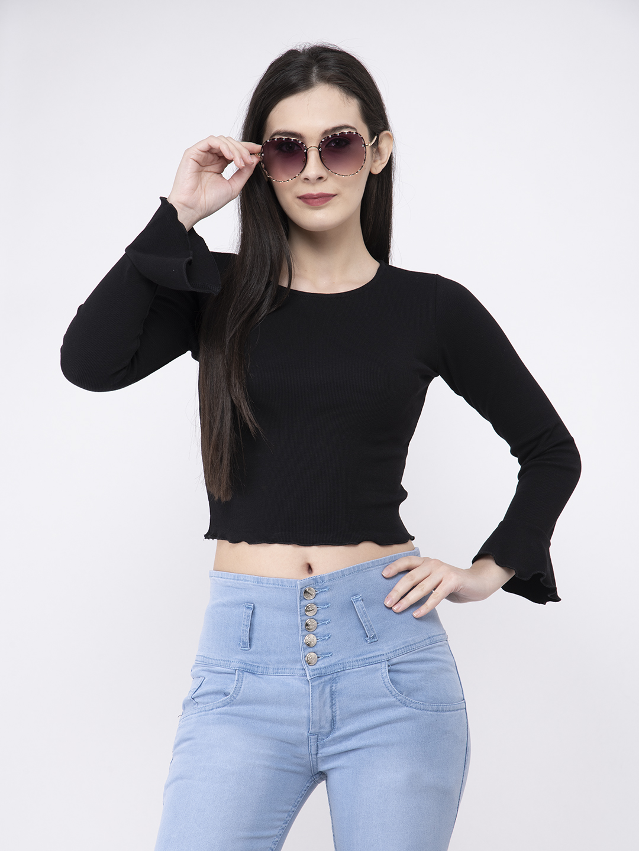 FAIRIANO Casual Flare Full Sleeve Solid Women Black Top