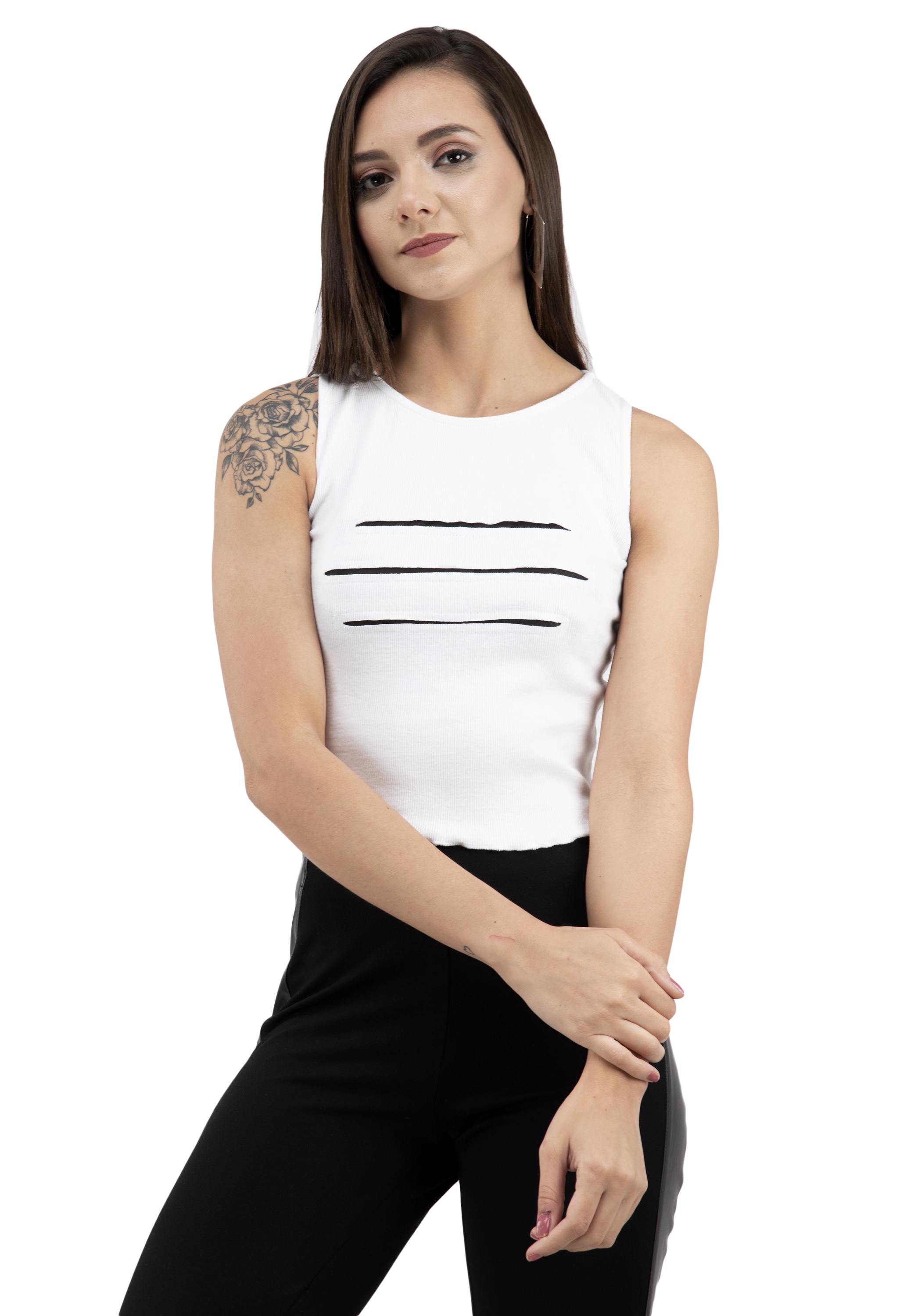 FAIRIANO Casual Sleeveless Solid Women's White Top