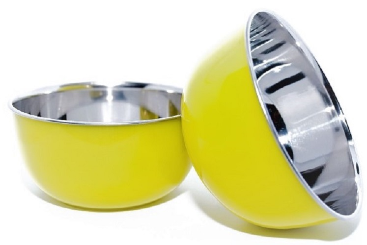 Microwave Safe Stainless Steel Plastic Coated YELLOW Bowl Set of 2  13 cm Each