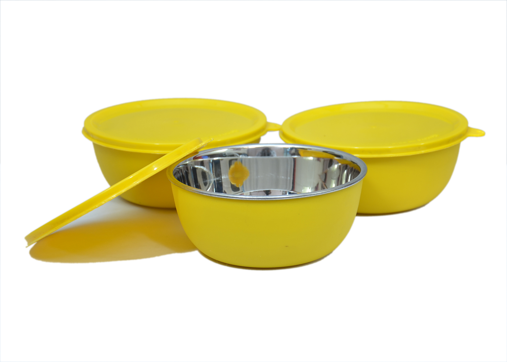 Microwave Safe Stainless Steel Plastic Coated YELLOW Bowl Set of 3  13 cm Each