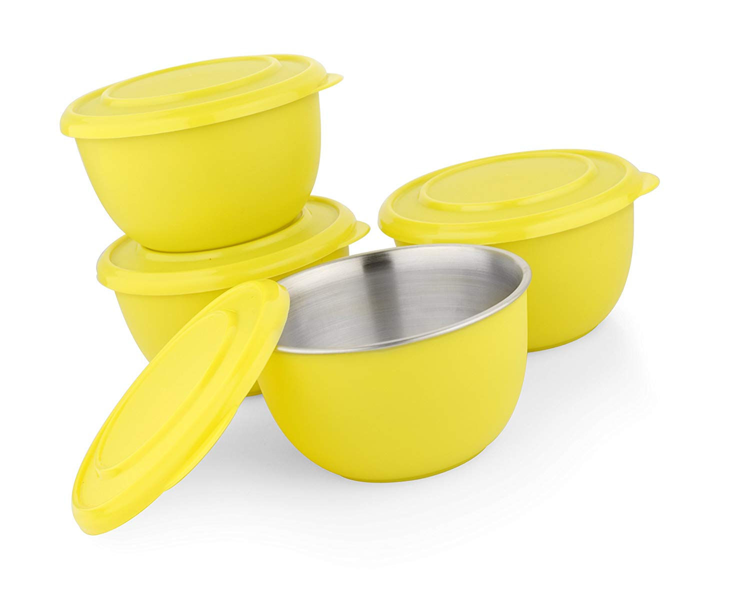 Microwave Safe Stainless Steel Plastic Coated YELLOW Bowl Set of 4  13 cm Each