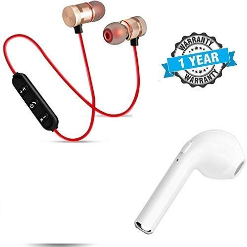 GO SHOPS Magnetic Wireless Bluetooth Headset in Built mic Calling Function with i7 Mini in Ear BT for All Smartphone