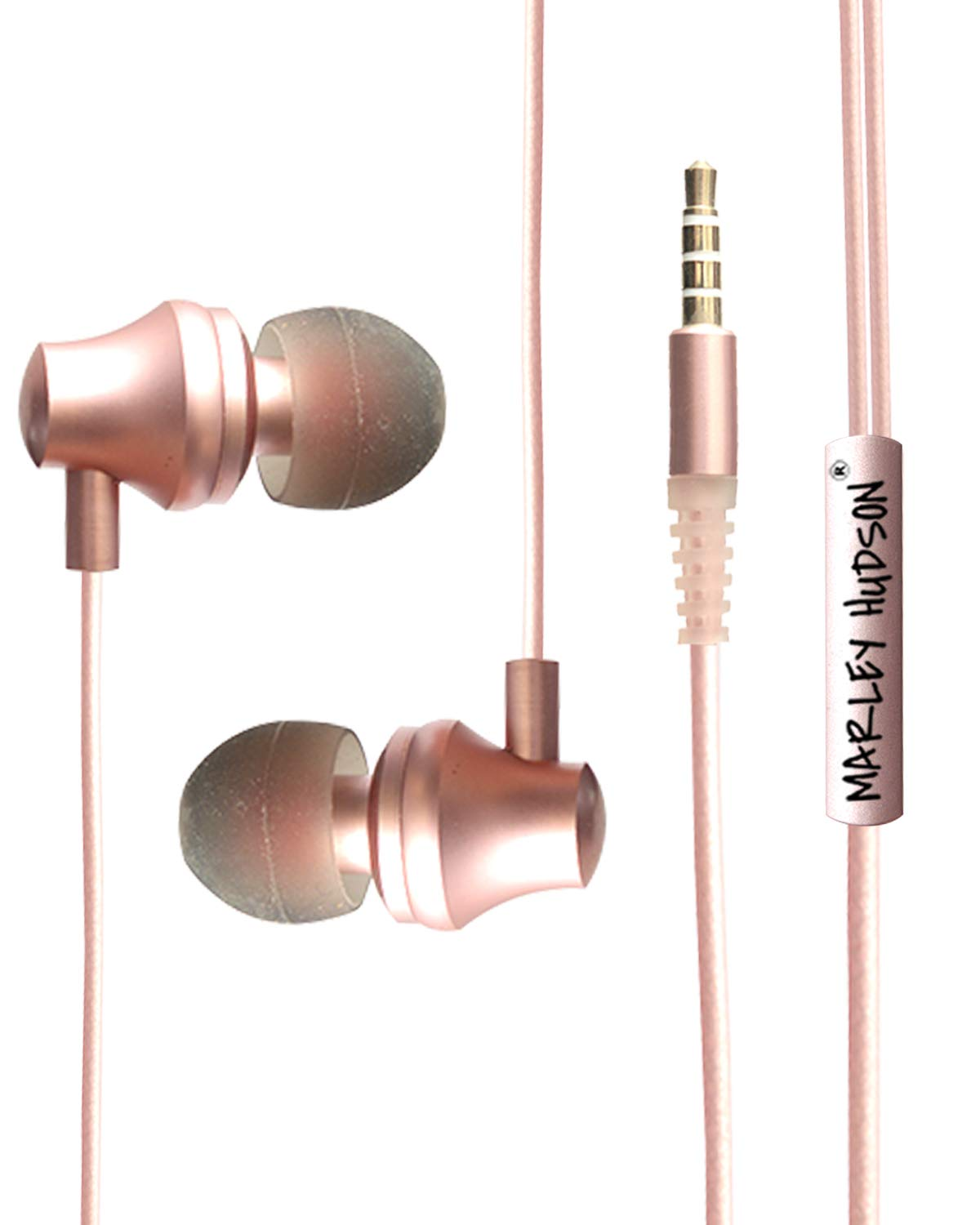 Marley Hudson Metal Super Bass Wired Sports, in Ear Earphones, Hands Free with Mic and Remote Control  Rose Gold Metal