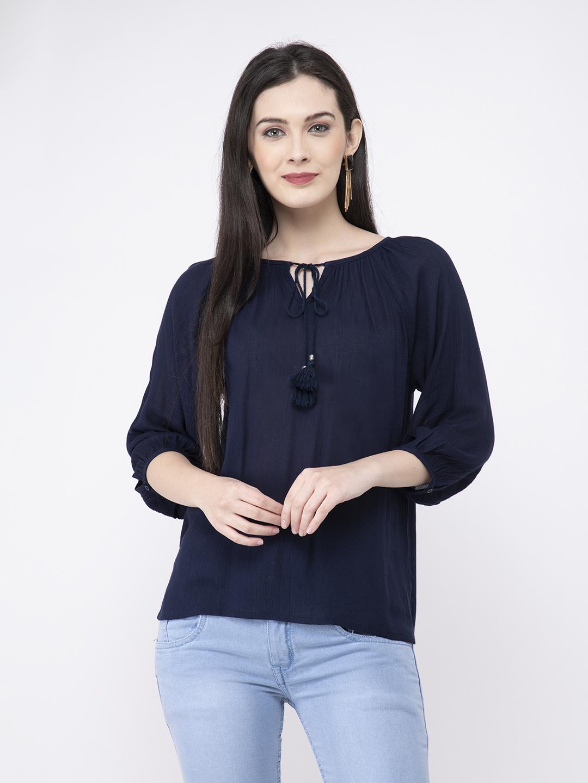 FAIRIANO Casual 3/4 Sleeve Solid Women Dark Blue Top